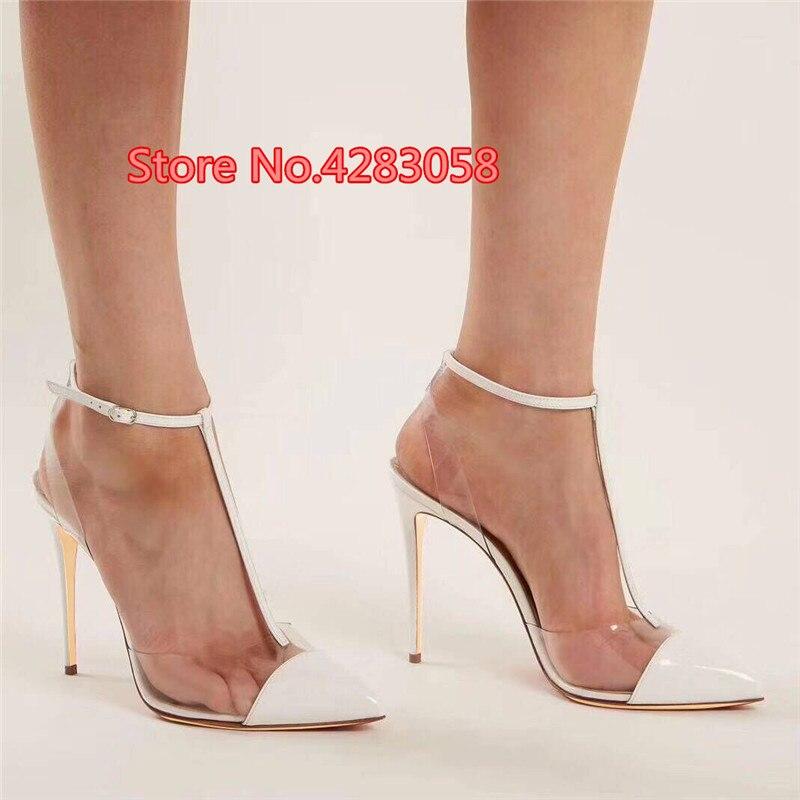 شحن مجاني أزياء المرأة مضخات الأبيض براءات الاختراع والجلود slingback في بوينت تو عالية الكعب الكاحل strappy و الصنادل أحذية 12 سنتيمتر 10 سنتيمتر 8 سنتيمتر-في كعب عالي من أحذية على  مجموعة 1
