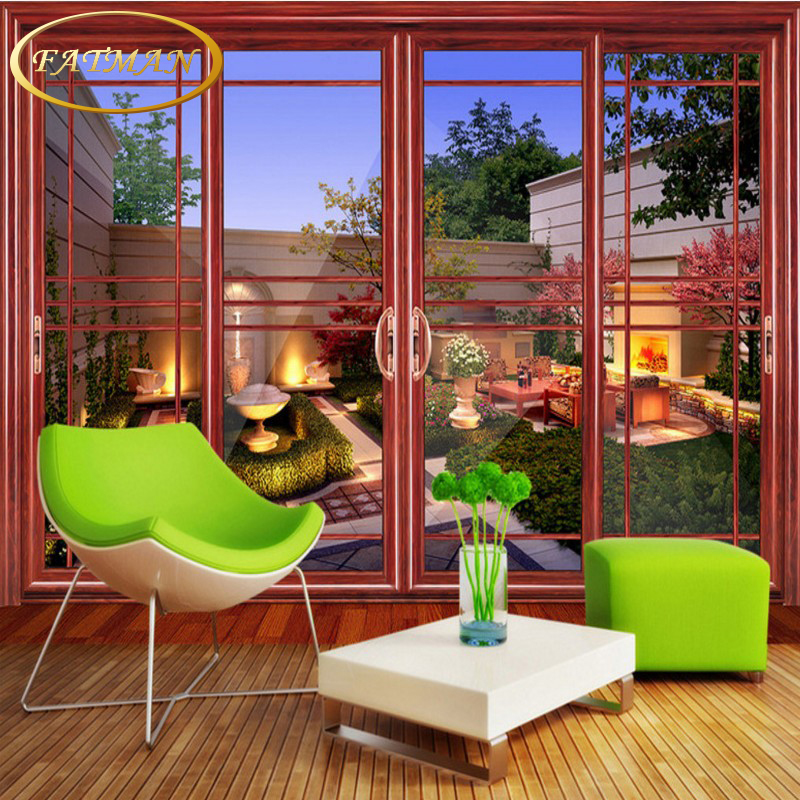 Living Room With Garden: Custom 3D Photo Wallpaper Sliding Door Villa Garden Mural