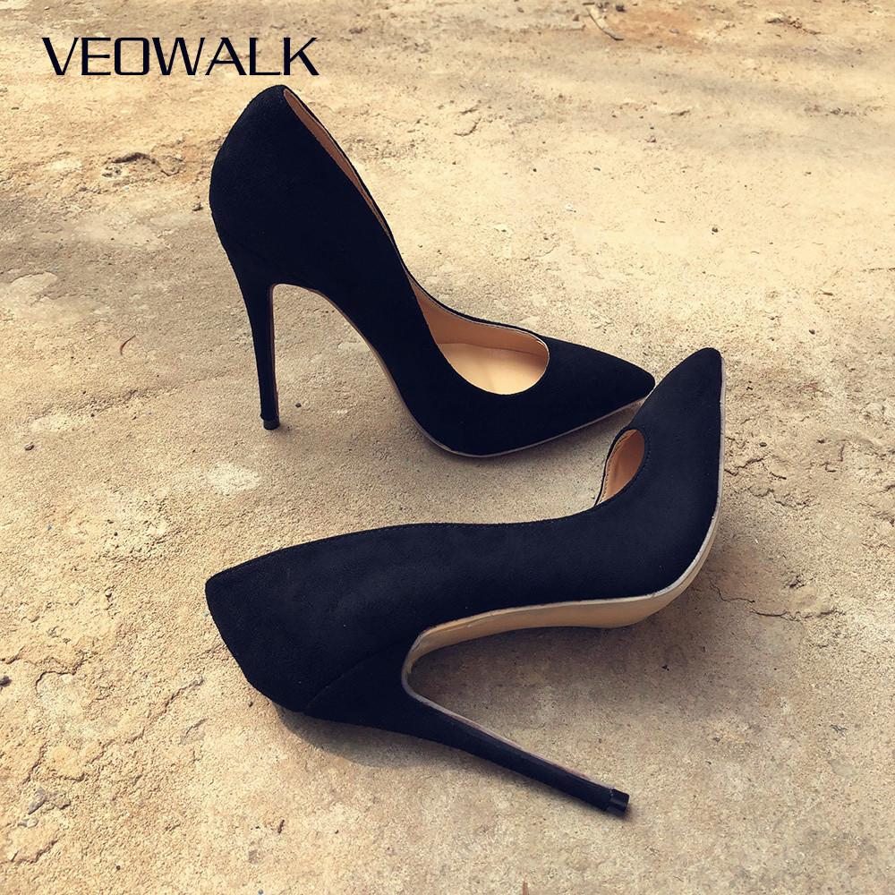 Veowalk Women Suede Stilettos Pumps Elegant Ladies Pointed Toe Classic High Heels Sexy OL Slip On Shoes Black Customized Accept