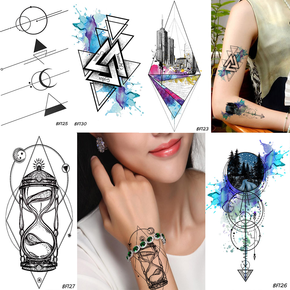 Geometry Rhombus Trangle Temporary Male Tattoo Galaxy Forest Body Art Painting Arm Sleeve Tatoos Watercolor Fake Tattoo Stickers