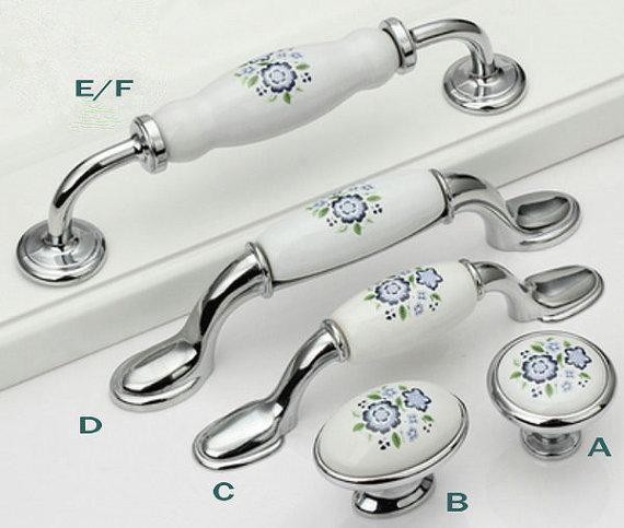 Keramik Küche Kabinett Zieht Griffe Knöpfe Weiß Silber Blau Blossom ...