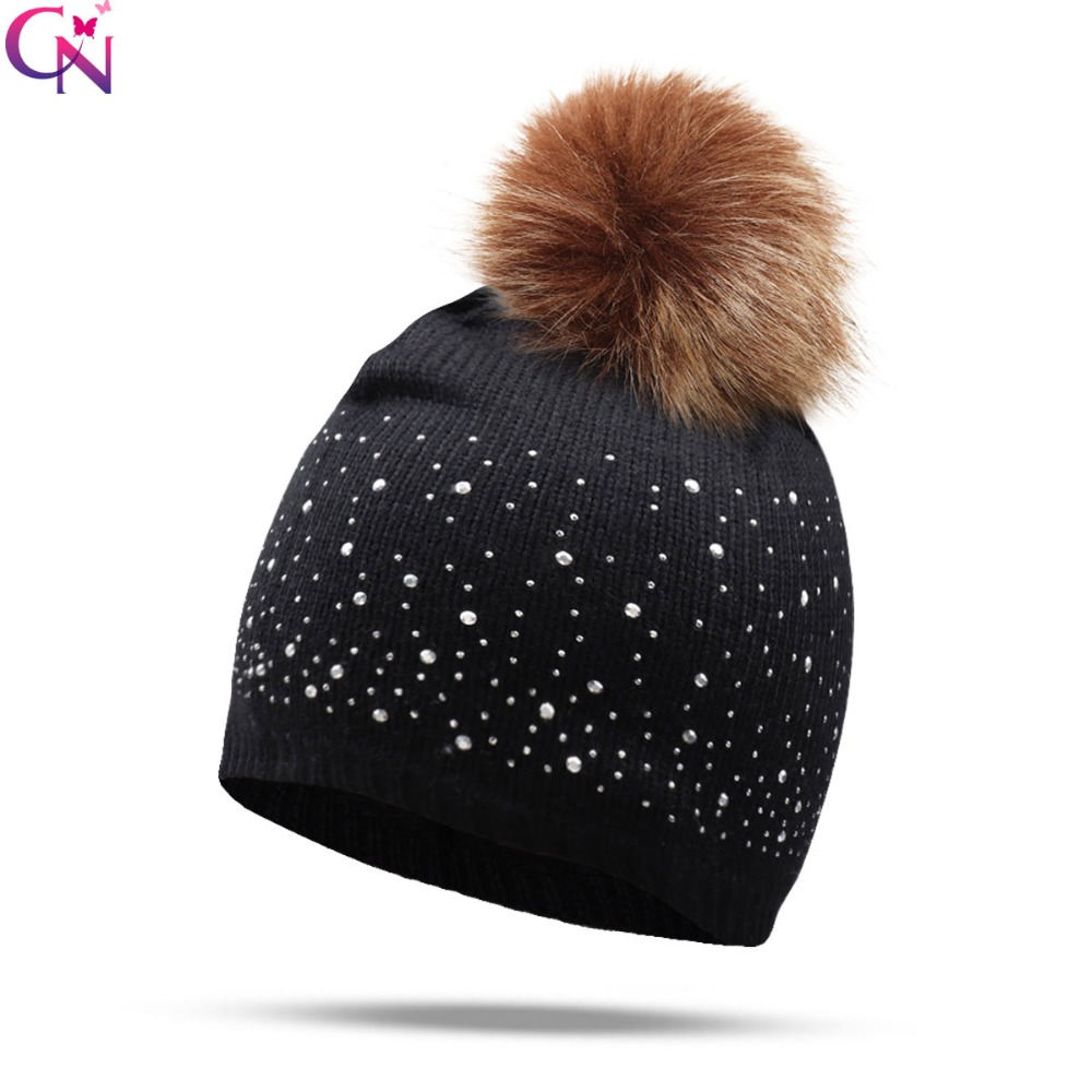 Hats/Caps Winter Pom Pom Rhinestone   Skullies     Beanies   Women Knit Slouchy Wool   Beanie   Hat For Ladies Warm Ear Cap Bonnet Gorros