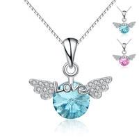 Angel Wing 925-sterling-silver Liefde Hartvorm Crystal Kettingen | Sterling-zilver-sieraden Accessoires Groothandel