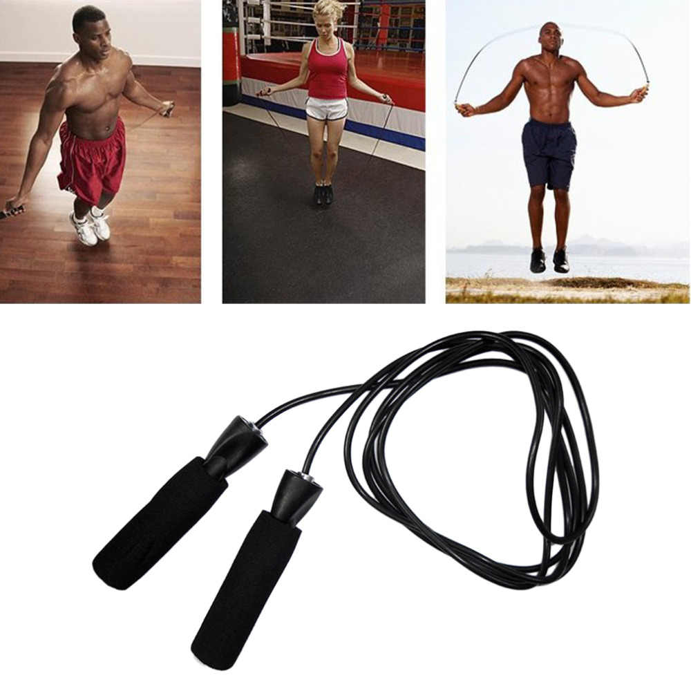 Plastik Aerobik Olahraga Kebugaran Kecepatan Bearing CrossFit Tali Lompat Tali Latihan Latihan Lompat Tali Hitam