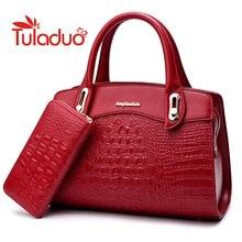 Neue Frauen Tasche Krokoprägung Geprägt Leder Zwei Set Geldbeutel und Handtaschen Berühmte Marken Designer Handtasche Weiblichen Umhängetaschen