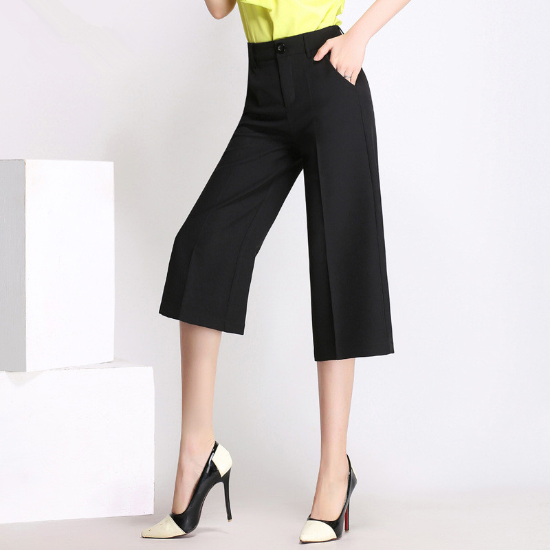 Summer New Style Women   Pants     Capris   Woman Solid Color Mid Flat Wide Leg   Pants   Office Uniform Calf-Length   Pants   5 Size Fashion