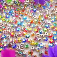 Vendita diretta della fabbrica Shinning colori AB 4 millimetri 5 millimetri 6 millimetri di figura Rotonda di vetro di Cristallo del rhinestone con artiglio D'argento impostazioni di pattino di vestito di