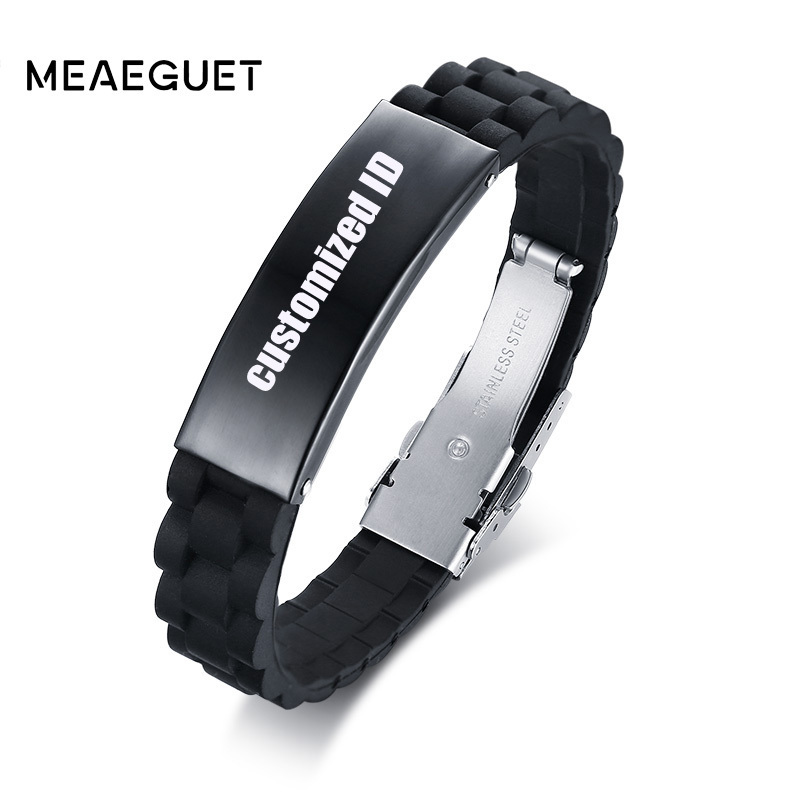 Rubber Silicone Bracelet For Men Customized Name ID Black 316L Stainless Steel Buckle Adjustable Male Braslet Free Engraving