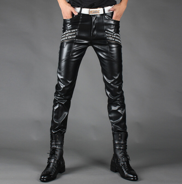 Plus size men's autumn winter black slim men leather pants male singers DJ stage Trousers costume men's fashion ds bottom