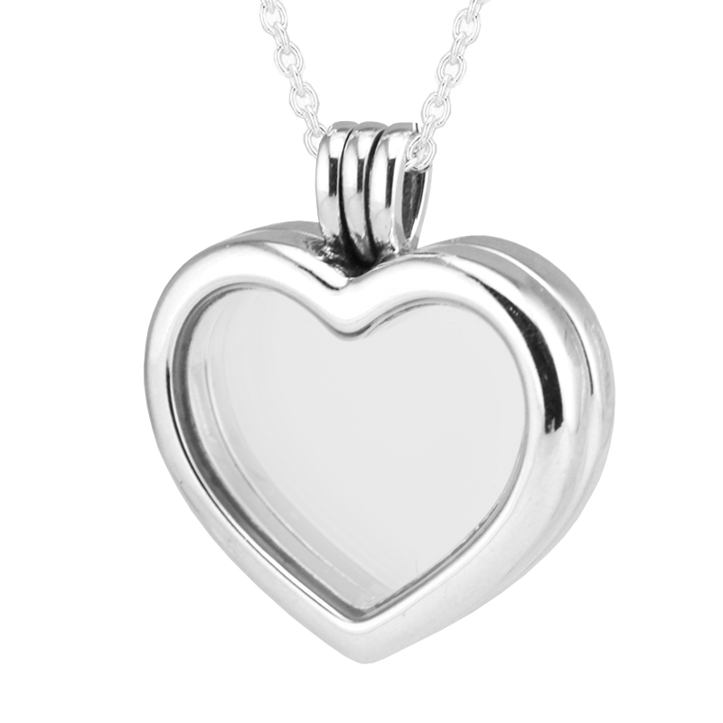 Fits Petite Charms CKK 925 Sterling Silver Jewelry Heart Floating Locket Pendant with Necklace for Women