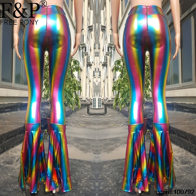7f95bc681691f2 Women Rainbow Holographic Flare Bell Bottom Pants Yoga Leggings Rave  Festival Clothes Vintage High Waist Dance Pants Leggings