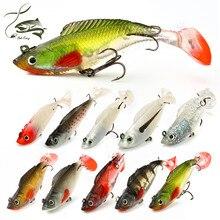 1 PC Hot sale Paillette Fishing Lure 8cm 10cm Artificial Soft bait Carp Crank bait with Treble Tackle Hooks Fishing accessories
