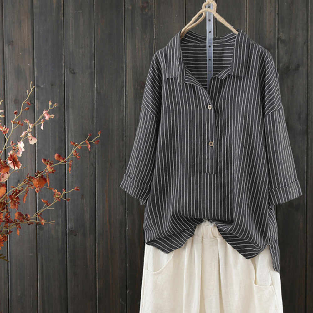 1bd2605a ... Women Button Up Pullover Striped Top Shirt Plus Size Tunic Blouse 3/4  Sleeve Female