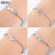 SMJEL Fashion Stainless Steel Family Elephant Bracelets Girl Boy Women Charm Adjustable Gold Kids Gift