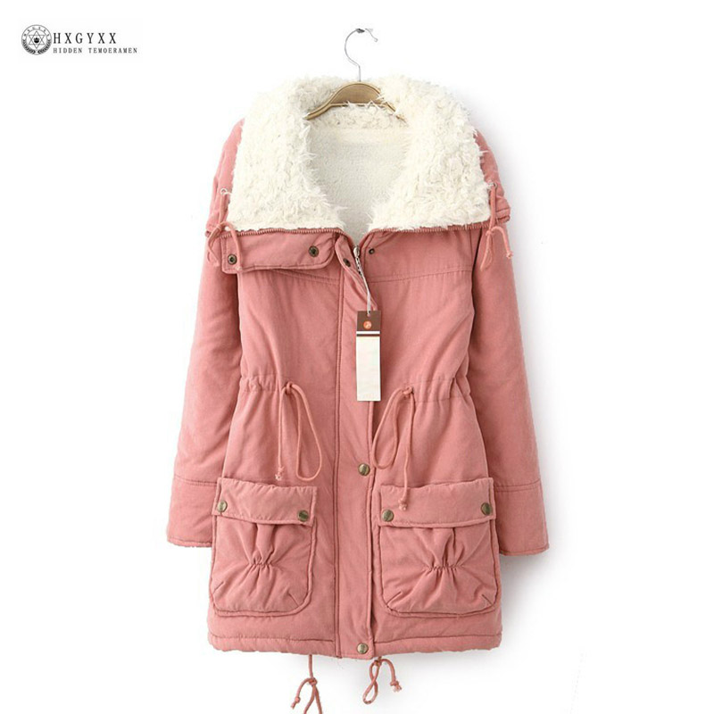 Female Cotton Coat Women 2017 New Winter Padded Warm Cashmere Parkas coats Solid Color Full Sleeve Casual Long Outerwear OK869 women s cotton padded long jacket winter leisure wild long cashmere wool liner coat casual pocket zipepr parkas mujer jy 805