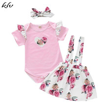 3PCS Newborn Baby Girl Clothes Fashion Short Fly Sleeve Romper Top+Floral Skirt+Bow Knot Headband Girl Clothing Kids Outfit Suit