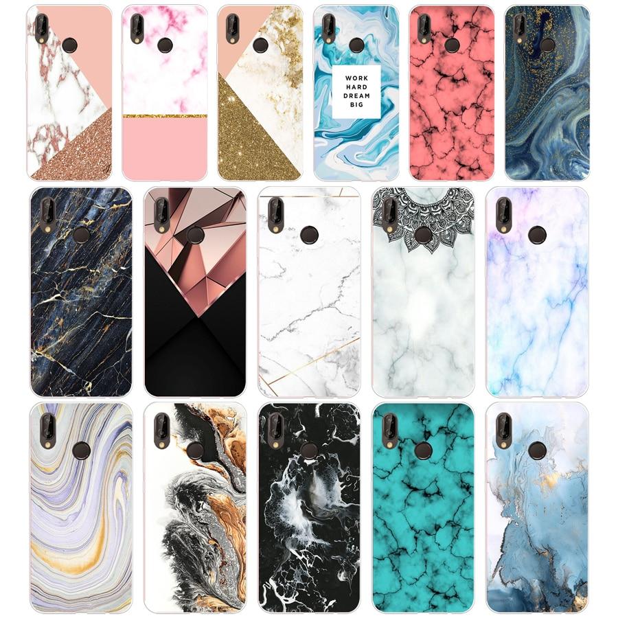 103sd Roze Blauw Inkt Marmer 02 Zachte Siliconen Tpu Cover Case Voor Honor 10 Huawei P Mate 10 20 Lite Y5 Y6 Prime 2018 Eenvoudig En Eenvoudig Te Hanteren