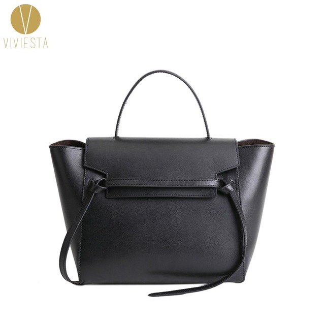 4050ce7e6a56 GENUINE LEATHER BELT KNOT LARGE TOTE BAG - 2018 Women s Designer Famous  Brand Fashion Trapeze Phantom