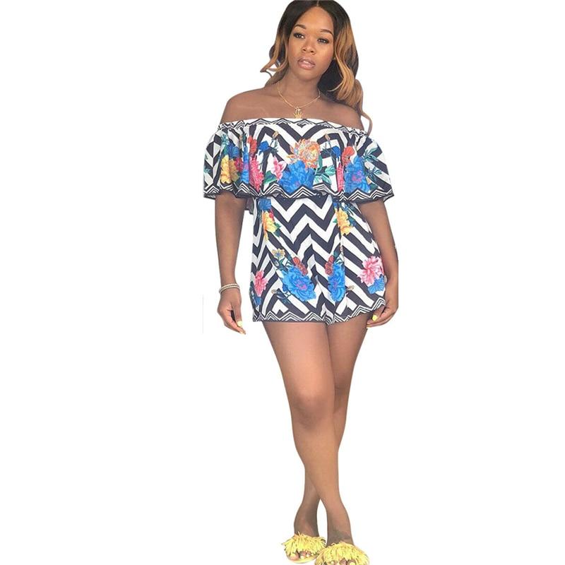 Wave Stripe Floral Print Women Playsuit Off Shoulder Ruffle Loose Casual Jumpsuit Romper Wide Leg Shorts Pants Beachwear