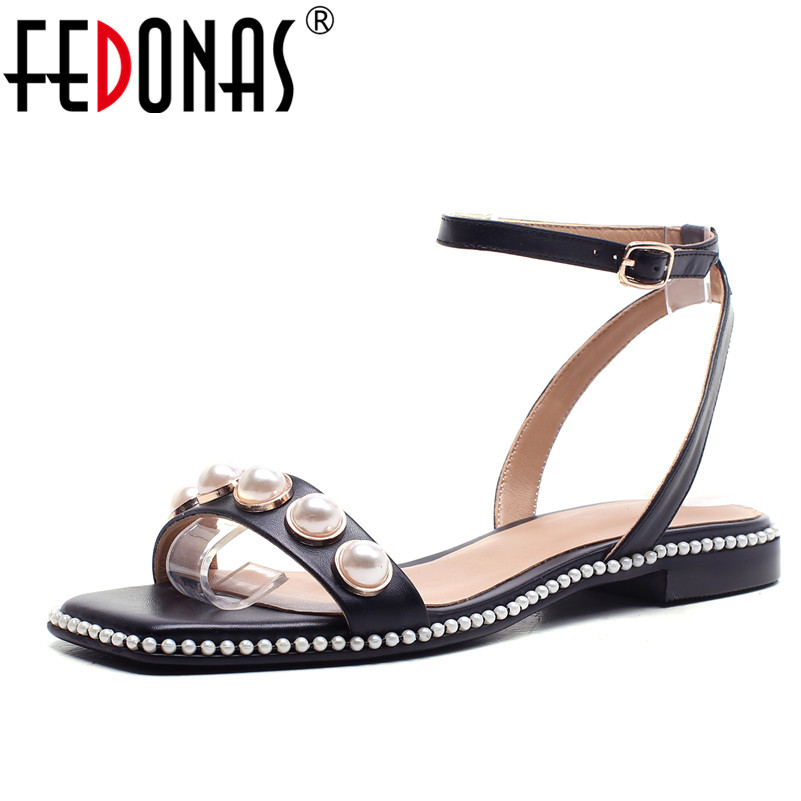 FEDONAS Summer Genuine Leather Shoes For Women Sandals Fashion Flats Heels Ladies Sexy Beading Casual Shoes Woman Female Sandals facndinll genuine leather sandals for