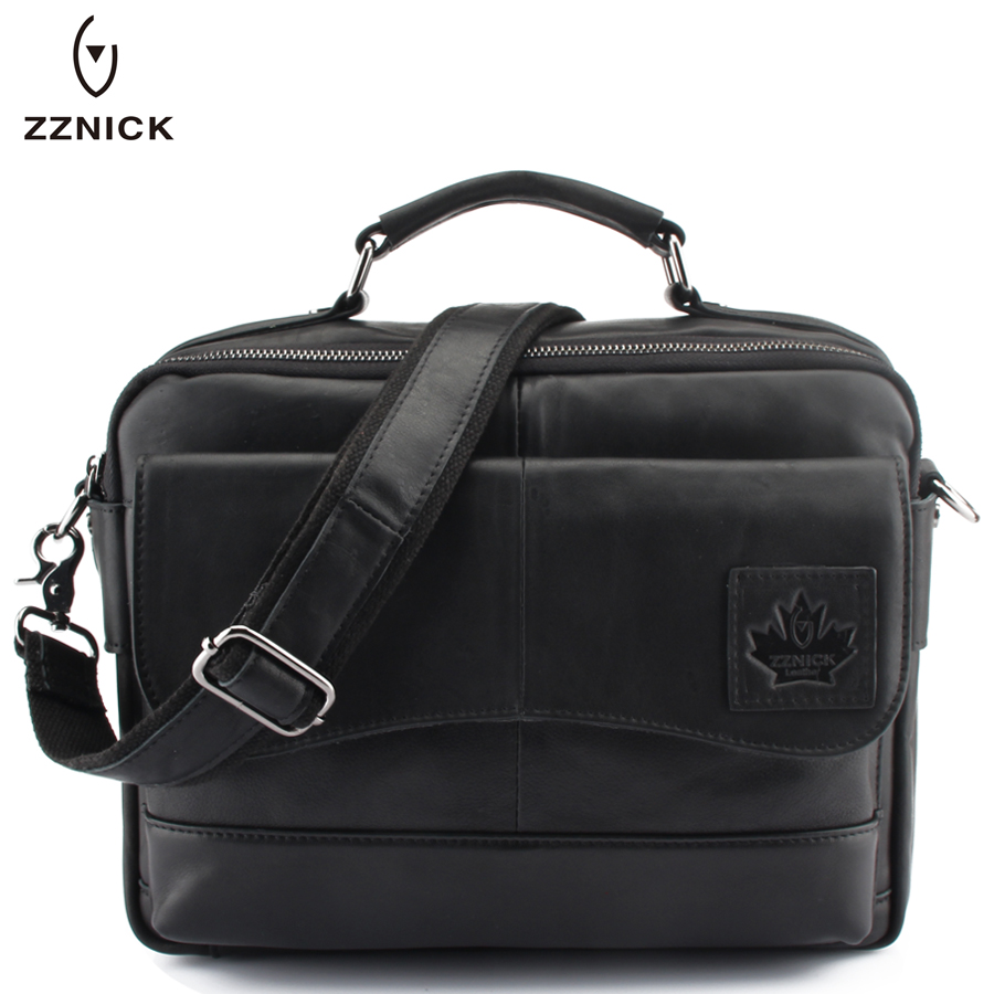 ZZNICK New Men Genuine Leather bag Business Men bags Laptop Tote Briefcase Crossbody bags Shoulder Handbag Men's Messenger Bag ograff men shoulder bag men genuine leather handbag design briefcase crossbody messenger bags men leather laptop tote travel bag