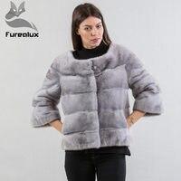 Furealux повседневное серое маленькое меховое пальто из норки, Меховая куртка с натуральным мехом, пальто с круглым вырезом, Короткие пальто из