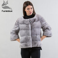 Furealux Casual Grey Small fur Coat Mink Fur Jacket Real Fur Coats O Neck Short Natural Mink Coats Fashion Three Quarter Sleeves