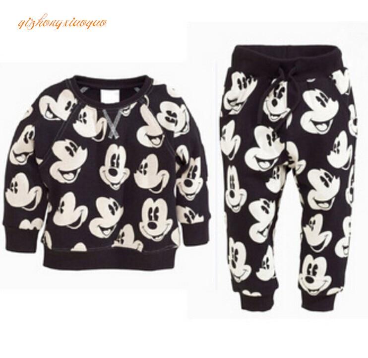 2016 bayi perempuan anak laki-laki pakaian set, Pakaian anak-anak musim gugur, Mickey bayi laki-laki baju olahraga set, 100% kaus katun + celana