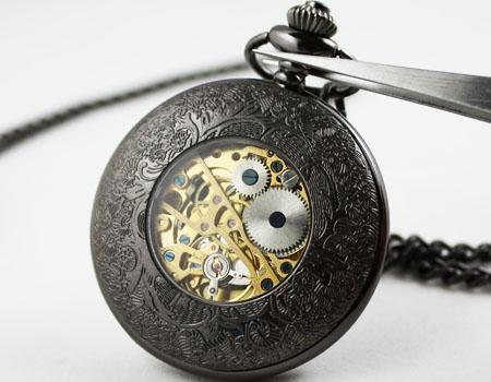 New Lace Dress Pocket Watch Gun color Mechanical Mens