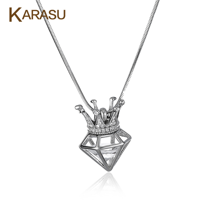 Real White Gold Filled CZ Diamond Three-Dimensional Triangle Crown Design Pendant Long Snake Chain Necklace for Women Jewelry
