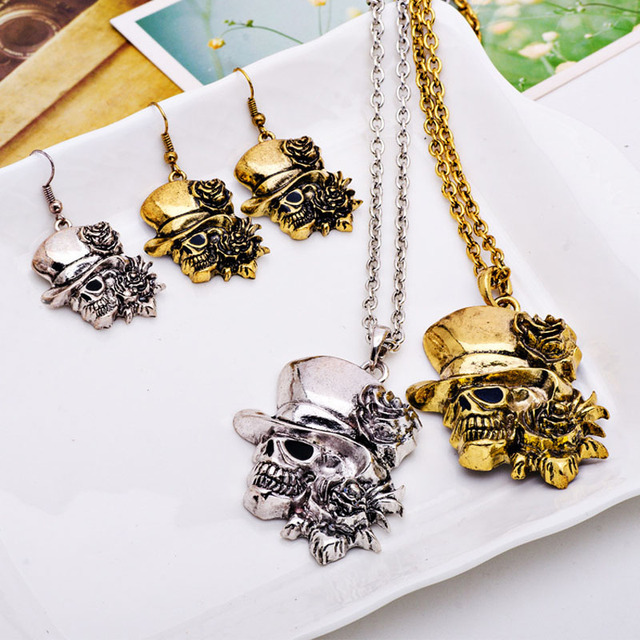 Skull shaped Steel Halloween Necklace & Earrings Set