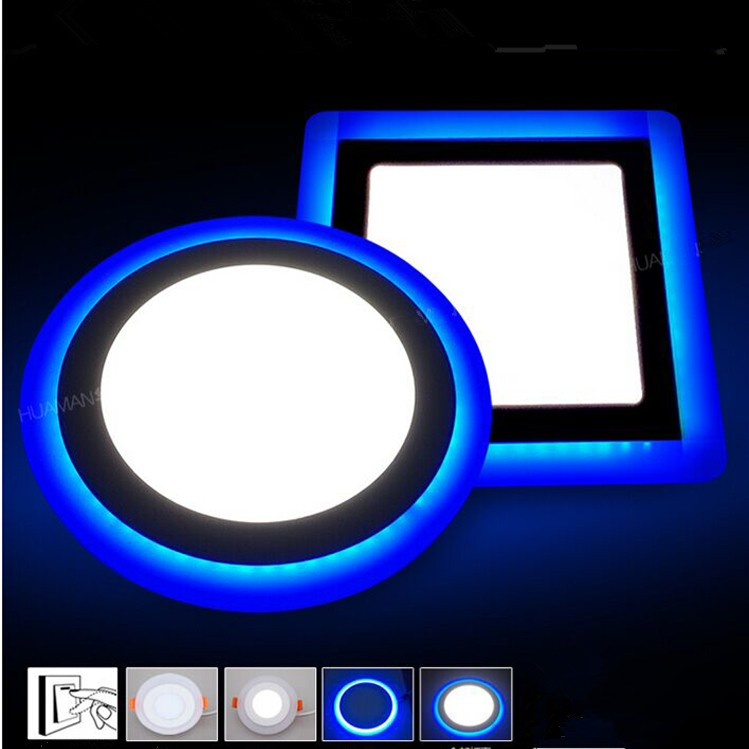 6W 9W 16W 24W Led Ceiling Recessed Panel Light Painel Lamp Home Decoration Round Square Led Panel Downlight Blue+White 2 Colors