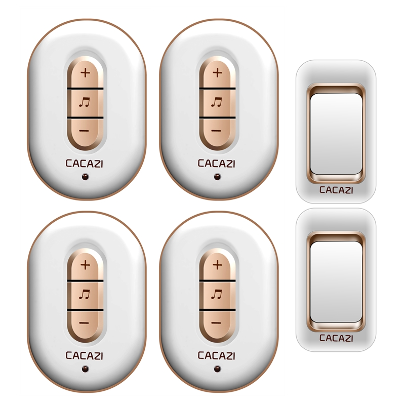 CACAZI AC 110-220V waterproof smart 300M remote wireless doorbell 2 transmitters+4 receivers 48 melodies 6 volume door chime cacazi a9 3 ac 75 250v wireless doorbell 1 waterproof button 3 receivers 52 ringtones 4 volume 300m remote electronic doorbell