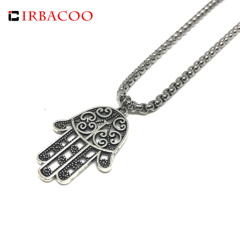 IRBACOO 2018 New Fashion Mens Necklace Hamsa Hand Charm With 316L Stainless steel Chain Necklace For Men