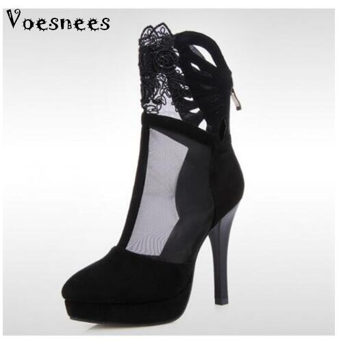 Shoes Women Spring Summer High-heeled Hollow Cool Boots Designers Brand Platform pumps cutout boots sexy lace stiletto boots