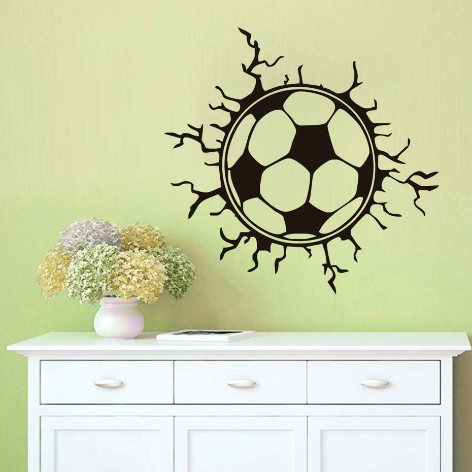 Hot Sale 3d Wall Stickers For Kids Rooms Football Soccer Broken Wall ...