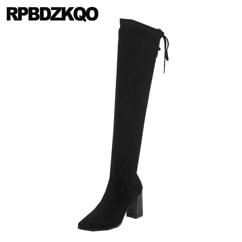 over the knee shoes ladies high heel sheepskin thigh autumn long suede slim women boots genuine leather chunky black pointed toe цена 2017