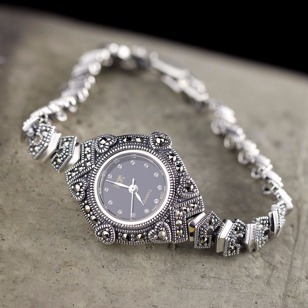Hot Sale HF Brand Watch Love Heart S925 Real Silver Bracelet Watch Top Quality Pure Silver Bracelet Watches Real Silver Bangle