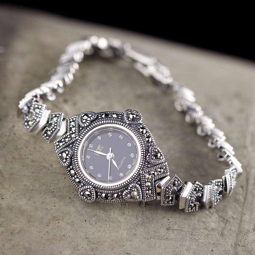 Offre spéciale HF marque montre amour coeur S925 réel argent Bracelet montre Top qualité pur argent Bracelet montres réel argent Bracelet