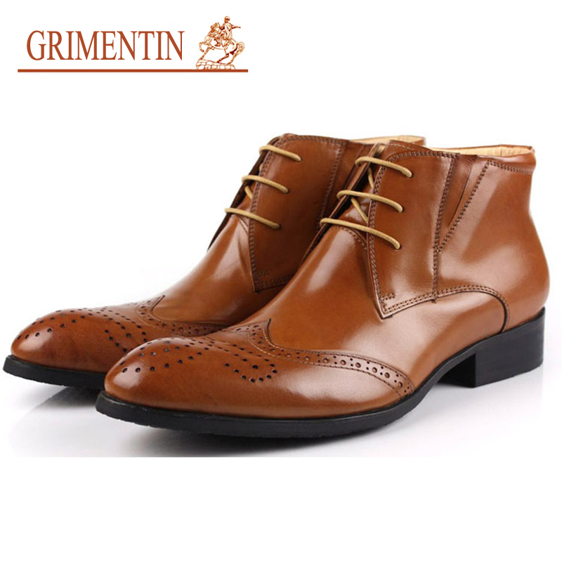 GRIMENTIN Fashion British Designer Mens Ankle Boots Genuine Leather High Top Men Dress shoes luxury formal boot 2017 New grimentin fashion 2016 high top braid men casual shoes genuine leather designer luxury brand men shoe flats for leisure business