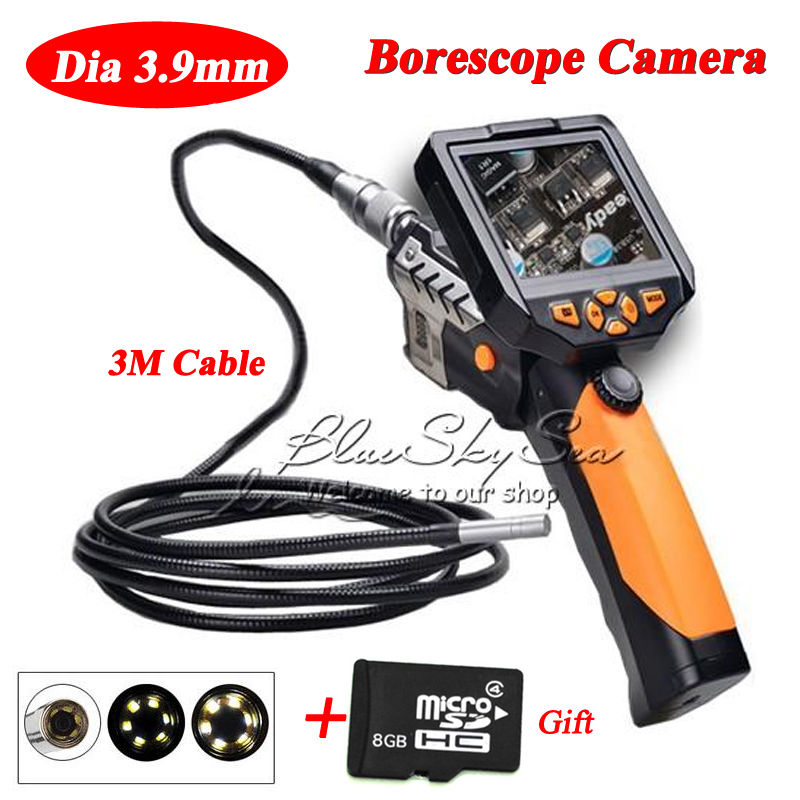 Blueskysea 8GB 3.5inch Monitor Dia 3.9mm Snake Camera Endoscope Inspection Borescope Cam 3M blueskysea nts200 endoscope inspection camera with 3 5 inch lcd monitor 8 2mm diameter 1 meter tube borescope zoom rotate flip