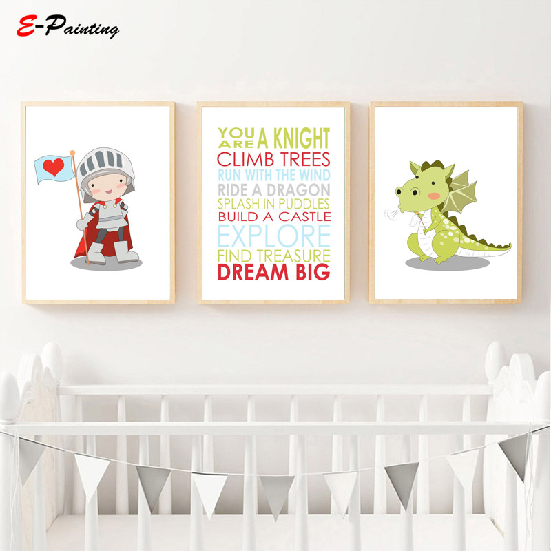 Us 3 75 25 Off Nordic Canvas Painting Baby Boy Nursery Wall Art Prints Knight And Dragon Quote Decoration Poster Kid Bedroom Decor In