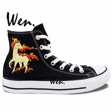 Wen Anime Hand Painted Shoes Pokemon Pocket Monster Rapidash Horse Black High Top Women Men's Canvas Sneakers Christmas Gifts