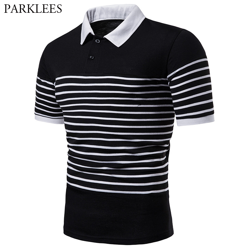 Mens Hipster White Striped   Polo   Shirt 2019 Brand New Slim Fit Short Sleeve   Polo   Shirt Men High Quality Cotton   Polo   Men Tops Tees