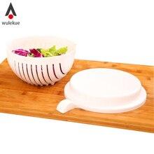 Wulekue 1 Unidades 60 Segundos Ensalada de Verduras de Corte De Fruta Tazón Utensilios de cocina