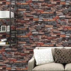 Image 4 - Red,Grey Vintage Rustic Stone Brick Wallpaper Roll Living Room Bedroom Restaurant Background Loft 3d Wall Paper