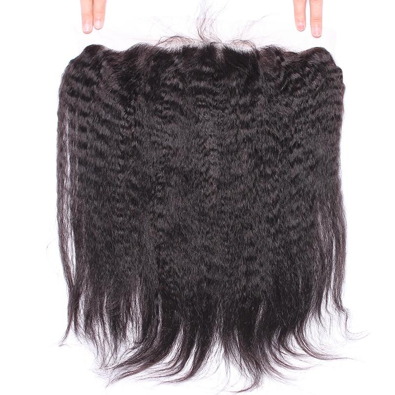 Kinky Straight Lace წინა ფრონტის - ადამიანის თმის (შავი) - ფოტო 4