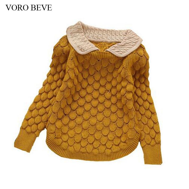 VORO BEVE 2017 kids new fashion kids sweater Girls peter pan collar flower sweater children sweater