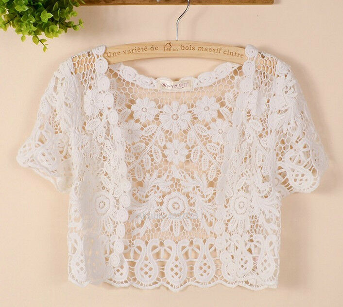 Image 5 - White Black Apricot Women Short Sleeve Shrug Bolero Lace Wedding Bridal Summer Jacket Elegant Cape-in Wedding Jackets / Wrap from Weddings & Events