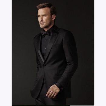 2018 Fashion One Button Groom Men Suit Tuxedo Black Groomsmen Suits Slim fit Jacket Wedding mens Suits (Jacket+Pants+Bow Tie)